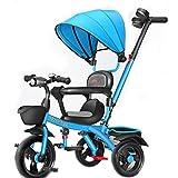 Triciclo para Niños Triciclo Para Niños Pequeños, Triciclo De Triciclo Con Triciclo De 5 En-1 Con Dosel Y Cesta De Almacenamiento Ajustable, Paseador De Triciclo De Pedal Plegable Para(Color:azul)
