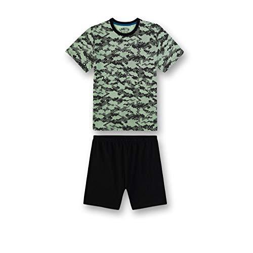 Sanetta Jungen Zweiteiliger Schlafanzug Pyjama Kurz 244742, Grün (Lime 40004), 140