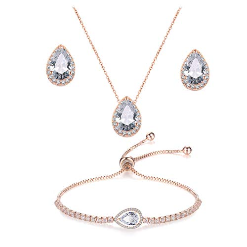 UDORA CZ Tearsdrop Earrings Necklace Jewelry Set For Bride Bridesmaids (3 Set-Rose Gold)