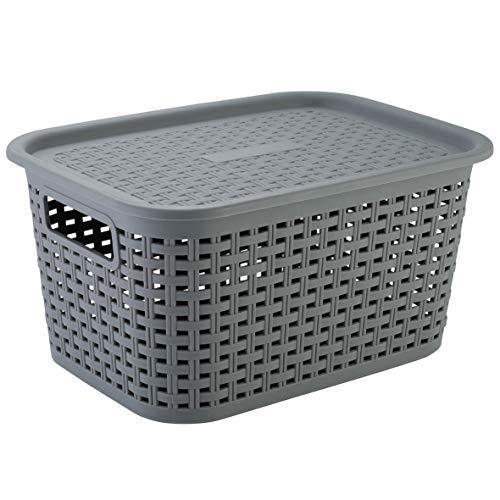 axentia Rattankorb Cesta con Tapa Efecto Mimbre 15 L, Caja Organizadora Apilable de Plástico, Cesta de Almacenaje Multiusos...