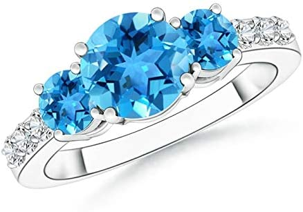 Three Stone Round Swiss Blue Topaz Ring with Accents 7m Outlet ☆ Free Shipping Soldering Diamond