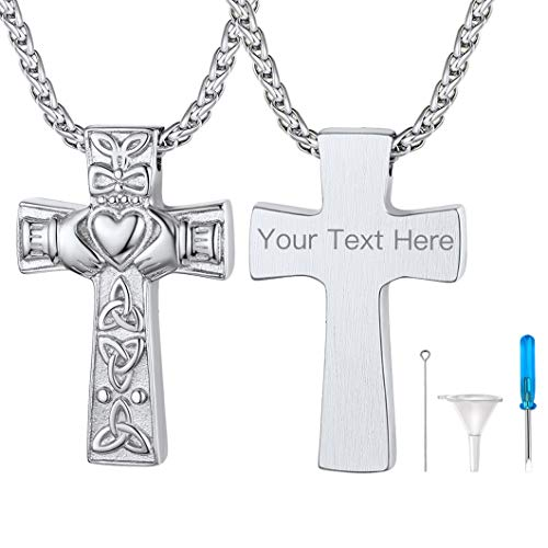 Richsteel Custom Celtic Knot Cross Cremation Urns for Human Ashes Adult Stainless Steel Religious Jewelry Engravable Keepsake Pendant with Chain