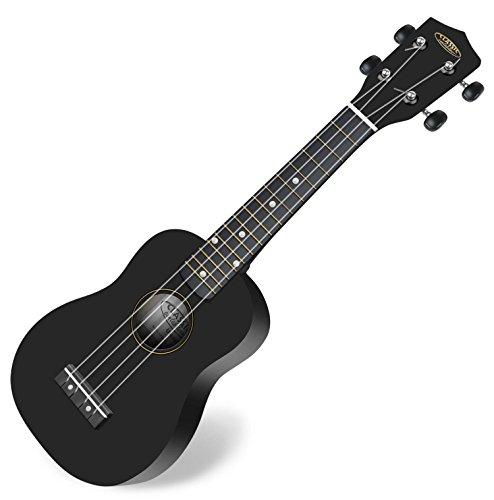 Classic Cantabile US-100 BK Sopranukulele (Ukulele, Uke, 15 Bünde, leichtgängige Gitarrenmechanik) schwarz