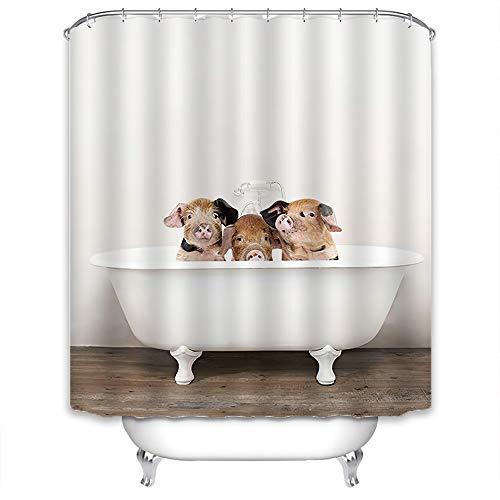 Xlabor Süß Tier Duschvorhang Badewannevorhang Wasserdicht Anti-Schimmel Stoff inkl. 12 Duschvorhangringe für Badezimmer DREI Schweine 240x200cm