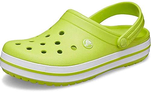 crocs Unisex-Erwachsene Crocband Clogs, Weiß (Limettenpunsch/ Weiß), 37/38 EU