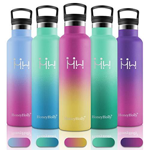 HoneyHolly Vakuum Isolierte Edelstahl Trinkflasche 600ml,BPA Frei Wasserflasche Auslaufsicher Thermosflasche,Thermoskanne kohlensäure geeignet für Kinder,Kleiner,Schule,Sport,Fahrrad