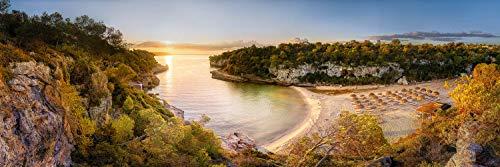 Voss Fine Art Photography salida del sol en la playa de la Bahía Cala Llombards en la isla de Mallorca, Impresión de obras de arte en soporte Dibond, 270 x 90 cm