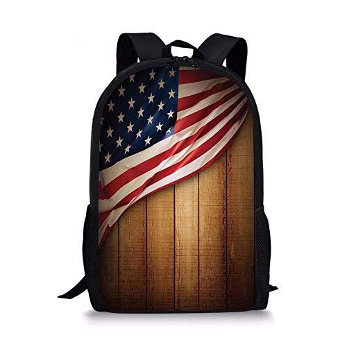 JINGS Zaini scuola Decor bandiera americana, design USA su fodera verticale retro in legno rustico retro gloria immagine country, blu rosso per ragazzi e ragazze Daypack sportivo da uomo