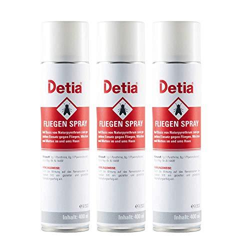 Detia Fliegenspray 3X 400 ml - Spray gegen Fliegen, Mücken, Motten und Wespen im Haushalt