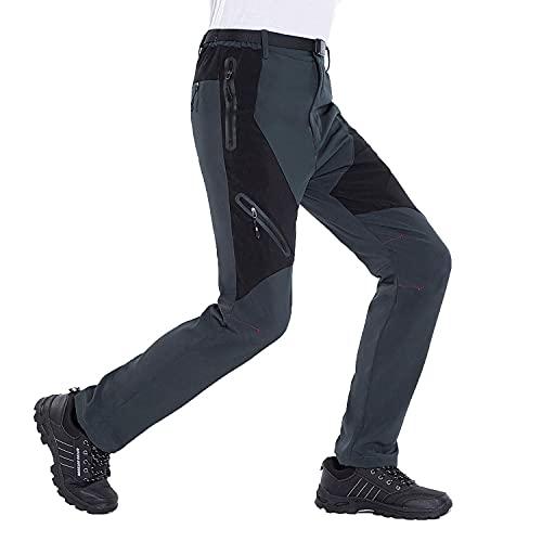 LUI SUI Pantaloni da Trekking da Uomo Softshell da Esterno Pantaloni da Trekking Leggeri ad Asciugatura Rapida con Tasche con Zip