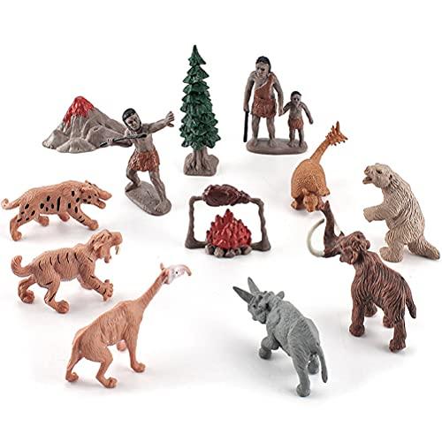 Estatuilla de Animales Juguetes conjunto, Emulación Primitiva Figura Humana, Evolución del Hombre, Modelos Ornamento, Estatuilla de PVC, Recurso Educativo Alta Simulación Animal Prehistórico Behemoth