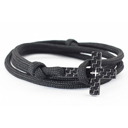 """kohlenstoff 12 """"Vaith"""" Armband Herren Cord Bracelet Schwarz Weiß Schmuck Kreuz Carbon Black White als edles Accessoire für den modernen Mann (16.00)"""