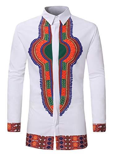 Beeatree Dashiki Blusa con Botones y Estampado Floral Africano para Hombre Blanco Blanco M