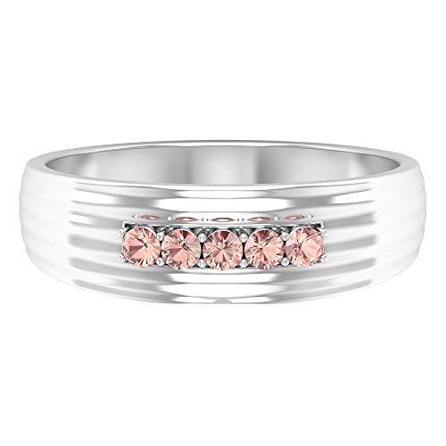 0.15 CT Lab Created Morganite Ring, Unique Wedding Band Ring, Eternity Ring, Lab Created Pink Gemstone Band Ring, Round Shaped Stone Band Ring, 14K White Gold, Size:UK F1/2
