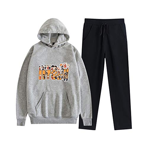 MLX-BUMU Haikyuu!! Sudadera con Capucha Pantalón De Chándal Traje Jersey + Pantalón Conjunto Ropa Unisex,XXL