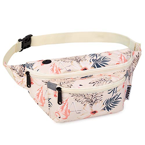 WANDF Gürteltasche Bauchtasche für Damen und Herren Einstellbare Bum Hüfte Hüfttasche für Sport Laufen Joggen Wandern (Beiger Flamingo)