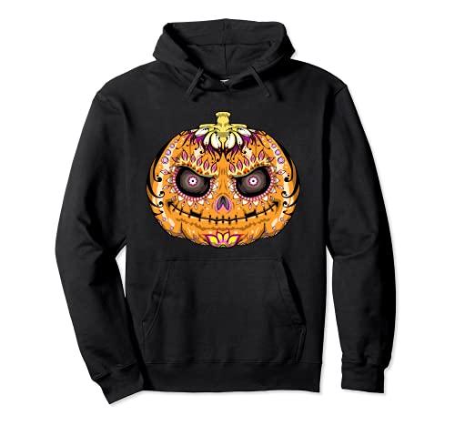 Calavera de azcar de calabaza, crneo de Halloween Sudadera con Capucha