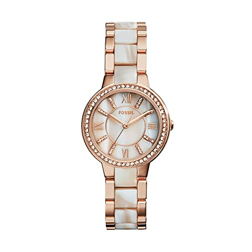 Fossil Women's Virginia Quartz Stainless Steel and Acetate Three-Hand Watch, Color: Rose Gold/White Horn (Model: ES3716)