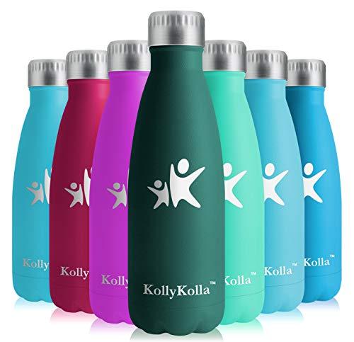 KollyKolla Botella de Agua Acero Inoxidable, Termo Sin BPA Ecológica, Botellas Termica Reutilizable Frascos Térmicos para Niños & Adultos, Deporte, Oficina, Yoga, Ciclismo, (500ml Ejercito Verde)