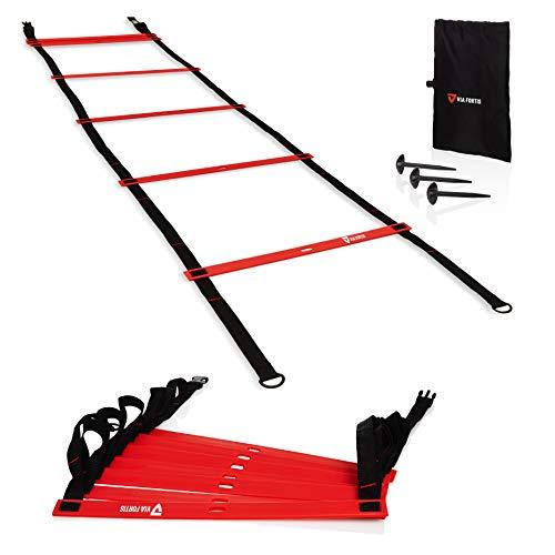 VIA FORTIS Premium Trainingsleiter (6m) – Koordinationsleiter für funktionelles Training, Fußball, Basketball, Tennis und mehr – 2x3m Agility Ladder mit Anti-Rutsch-Markierungen, Heringen und Tasche