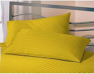 Daksh Sateen Stripe 300 TC Cotton Pillow Cover, 16 x 24 inch, Yellow, 2 Pieces