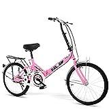 MIAOYO 20 Pulgadas Portátil Bicicleta Plegable,Anti-neumático De Patín Bicicletas De Crucero,Plegable Velocidad única Bicicleta De La Ciudad para Los Niños Adulto Masculino Mujer,Rojo,20'
