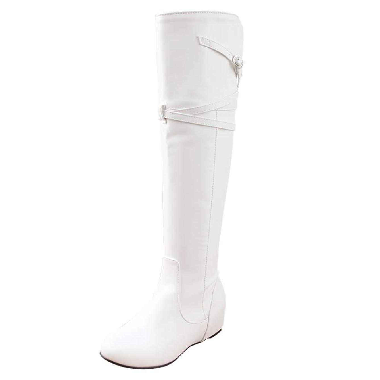 本土知覚できる不測の事態[Unm] レディーズ ファッション 膝の上 ブーツ ミッドヒール