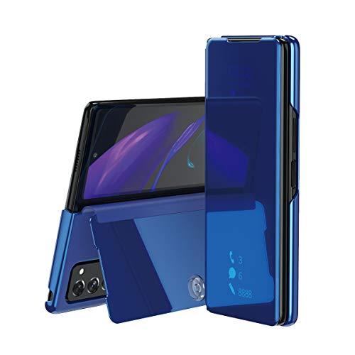 TingYR Hülle für Samsung Galaxy Z Fold 2 5G Schutzhülle, Plating Spiegel Tasche Cover Smart Handyhülle Schutzhülle Flip Lederhülle Etui, Handyhülle Hülle für Samsung Galaxy Z Fold 2 5G.(Blau)