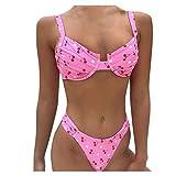 Bikinis Conjunto Tops y Bragas Impresión de Cereza Trajes de Baño 2 Piezas Bañadores Ropa de Playa Verano Mujer