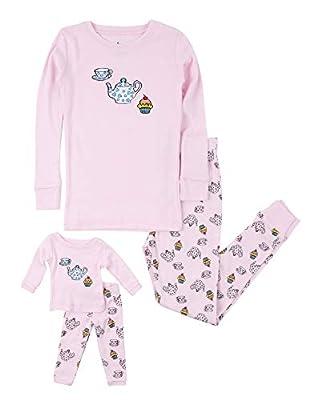 Leveret Kids Pajamas Matching Doll & Girls Pajamas 100% Cotton Pjs Set (Tea Cup,Size 6 Years)