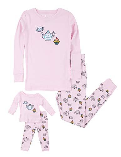 Leveret Kids Pajamas Matching Doll & Girls Pajamas 100% Cotton Pjs Set (Tea Cup,Size 8 Years)