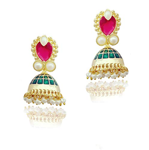 Moonstruck Traditional Indian Golden Minakari Jhumka Earrings With Stone And Pearls for Women (Pink)