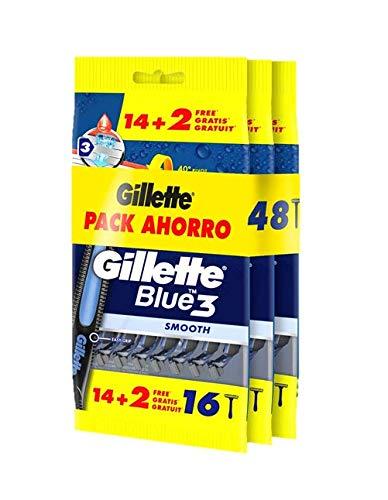 Gillette Blue3 Maquinillas desechables para hombre, pack 3 x 14 + 2, tres hojas de afeitar con cabezal pivotante 40° y banda lubricante