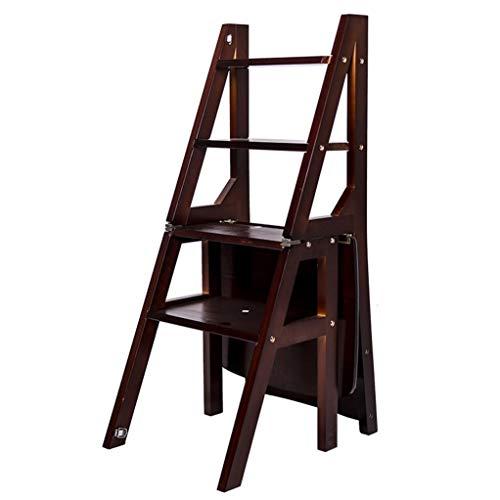 GSS-chair Silla Plegable Madera, Multifuncional Cubierta Biblioteca Cocina Uso De La Oficina Silla Escaleras,La Escalera Y La Silla Se Puede Cambiar A Voluntad (Color : Negro)