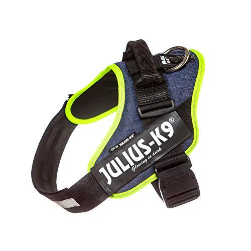 Julius-K9, 16IDC-FARNE-1, IDC-powerharnas, hondenharnas, maat: L/1, jeans met neon randversiering