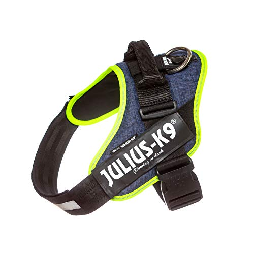 Julius-K9 16IDC-FARNE-1 IDC Powerharness, Dog Harness, Size 1, Jeans with Neon Edge