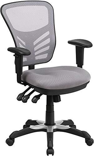Flash Furniture Silla de escritorio ergonómica, giratoria, de malla, multifunción, respaldo medio, reposabrazos ajustables, color Gris