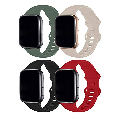 Hotflow 4 Pack Compatible with Apple Watch Band 38mm 40mm,Sport Silicone Soft Replacement Band Compatible for Apple Watch Series SE/6/5/4/3/2/1 [S/M Size - Lavender Gay/Pine Green/Stone/Red]