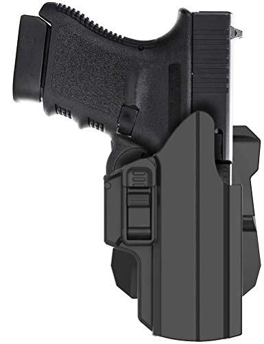 HQDA Universal OWB Holster Fits G-Lock 17 19 19X 27 33 45 Gen 1-5 S-ig S-auer P320 PX4 H&K USP Springfield XD S&W M&P C 9MM Pistols Holster Tactical 360°Adj. Draw Angle Paddle Handgun Holder