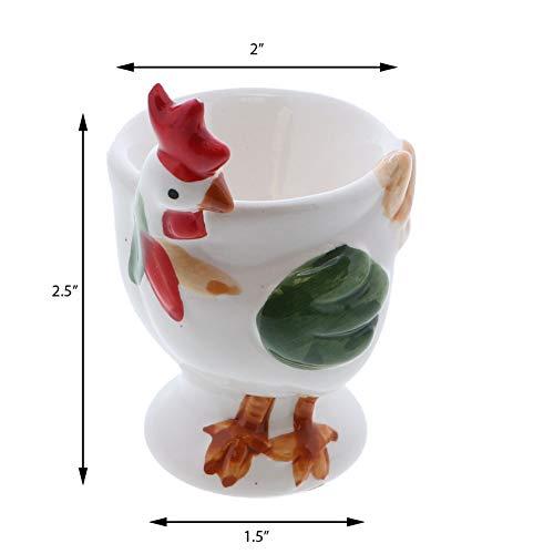 Portauovo Simpatico portauovo in Ceramica Morbido Set di 2 Polli Bianchi Servette Home