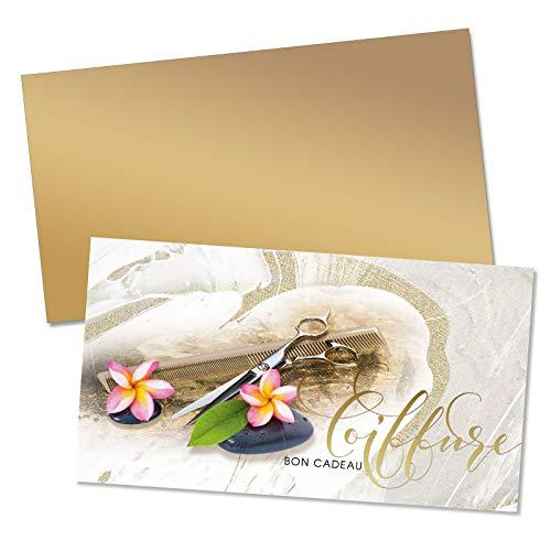 25 Bons cadeaux de haut niveau + 25 enveloppes avec des motifs pour coiffeurs salons de coiffure. Recto à haute brillance. K1202F