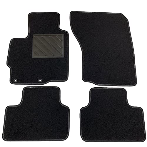 Tapis de sol pour C4 Aircross 05.2012> / ASX 05.2010> - Sur mesure, en moquette noire, avec boutons et talonnette électrosoudée