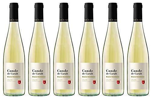 Conde de Caralt Vino Blanco Suave - pack de 6 botellas de 750 ml - 4500 ml