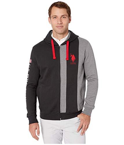 U.S. Polo Assn. Sweat à capuche à manches longues avec fermeture éclair sur le devant pour - noir - Medium