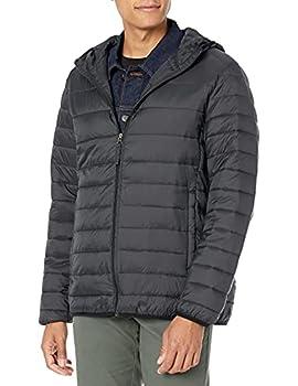 Amazon Essentials Men s Lightweight Water-Resistant Packable Hooded Puffer Jacket Black Large