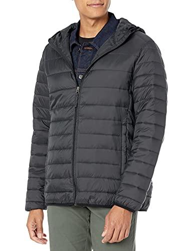 Amazon Essentials Men's Lightweight Water-Resistant Packable Hooded Puffer Jacket, Black, Medium