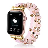 TINOBAND Compatible with Apple Watch Bands 44mm 42mm 40mm 38mm, Rose Quartz Crystals Beaded Bracelet Elastic Apple Watch Bands for Women Men Wristbands for Apple Watch iWatch SE Series 6 5 4 3 2 1, 38mm/40mm