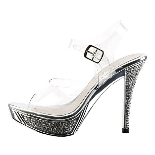 Fabulicious Women's Elegant 408 Dress Sandal, Clear, 10 M US