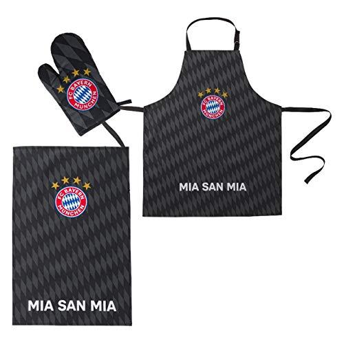FC Bayern München Grill-Set 3tlg Schürze Handschuhe Geschenk mia san mia Grillen