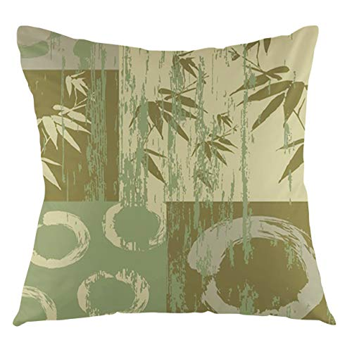 FULIYA Bamboo Throw Pillow Cushion Cover Circle and Bamboo Silhouette Over Vintage Color Oriental Eastern Patchwork Art Print Decorative Square Accent Pillow Case, 18' X 18',Green
